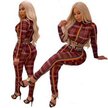 Sexy High Neck Mesh Perspective Skinny Overalls Plaid Letter Print Full Sleeve Crop Top Long Pant 2 Piece Set Jumpsuit Women