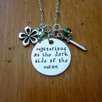 "Disney's ""Mulan"" Inspired Necklace. Song ""Mysterious as the dark side of the moon"". Silver colored, Swarovski crystals. Hand stamped."