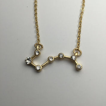 Big Dipper Constellation Necklace Astronomy Science Jewelry Space Star gold plated jewelry with rhinestones