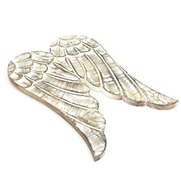 Distressed Angel Wing Wooden Decor Ornament, 11-Inch