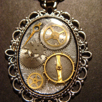 Steampunk Necklace Gears and Watch Parts set in by CreepyCreationz