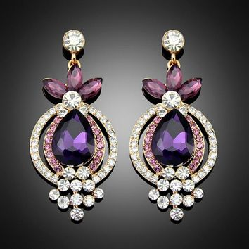 New designer gold color Purple austrian crystal rhinestone wedding big earrings for women indian jewelry brincos ouro orecchini