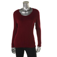 Style & Co. Womens Petites Ribbed Long Sleeves Pullover Top