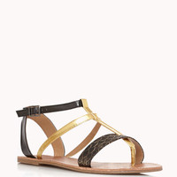 Metallic Colorblocked Gladiator Sandals
