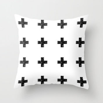 Decorative Pillow Cover,Watercolor Swiss Cross,White,Black, Home Decor,Bedroom,Living Room,Throw Pillow,Dorm,Plus Sign, Positive Sign