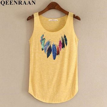 Spring Summer New Tank Tops Women Sleeveless Round Neck Loose Tees Ladies Colored Feathers Printing T Shirt Vest Singlets
