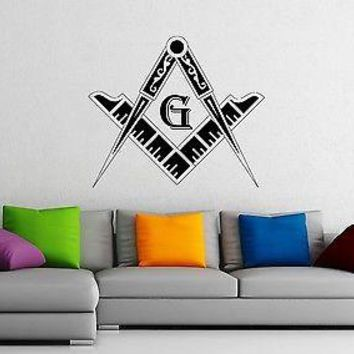 Wall Stickers Vinyl Decal Masonic Square and Compass Freemasons Unique Gift z1158