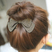 Rhinestone Crystal Double Layer Ribbon Bow Knot Hair Pins Headwear Hair Clip
