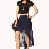 FOREVER 21 High-Low Chiffon Skirt Navy Large