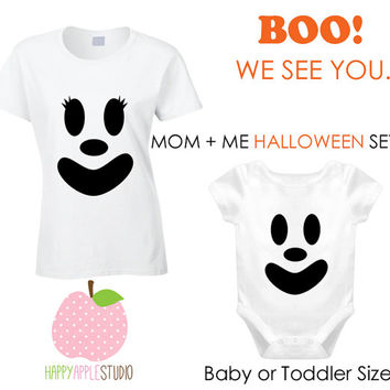 Mom and Me Halloween Shirt Set, Ghost Face Baby or Toddler Shirt, First Halloween Baby and Mom Shirt Set, Cute Ghost, Girl Ghost Face