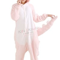 New Pink Dinosaur Adult Animal Winter Kigurumi Fleece Onesuit KK860
