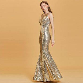 Sequins mermaid evening dress daffodil sleeveless floor length gown women scoop neck party formal long evening dresses