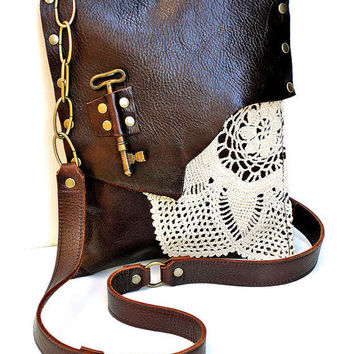 Leather Crochet Bag : PRE-ORDER Brown Leather Boho Messenger Bag with Crochet Doily and ...