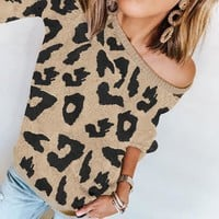 New line of popular women's long-sleeved leopard-print loose-fitting sweaters