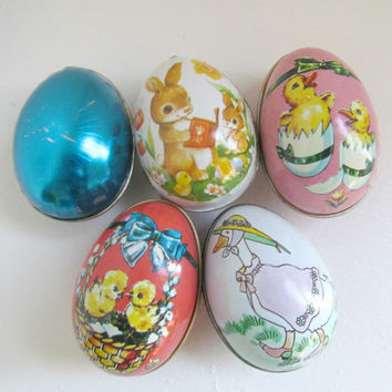 5 Vintage 1980s Tin Easter Egg Candy Containers, McCrory and Enesco, Easter Basket Filler, Tin Litho Easter Collectibles