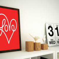 Love Typography Print -  11x14 or 12x16 A3 Print - choose your colour