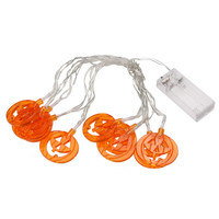 Finether 10 LED Translucent Orange Jack-O-Lantern Pumpkin String Lights Battery Powered for Halloween Party Indoor Outdoor Decor