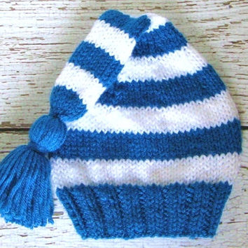 Hand Knit Sapphire Blue & White Striped Baby Stocking Cap with Tassel - 0 to 6 Months Infant Hat - Winter Baby Clothing Pixie Hat Elf Hat