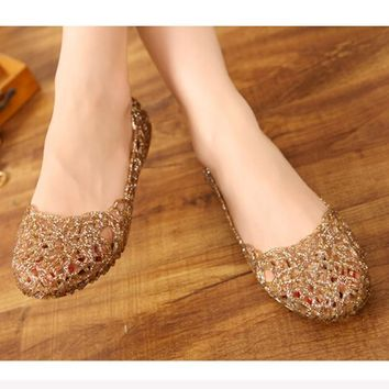 Women's Casual Jelly Rubber Mesh Flats Shoes Sandal