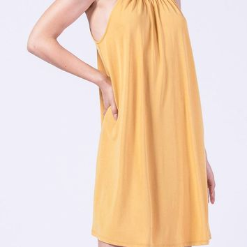Celena Gathered Neck Dress in Mustard