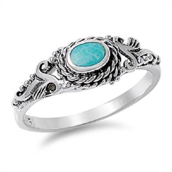 Vintage Style Turquoise Stone Ring 925 Sterling Silver Filigree Designs Turquoise Band Ring