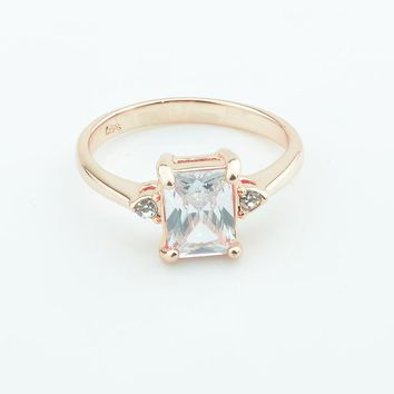 FJ Women 7mm Square White Big Cubic Zirconia Stone Rings 585 Rose Gold Color Wedding Simple Rings