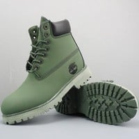 Timberland Leather Lace-Up Boot High Green Black - Best Deal Online
