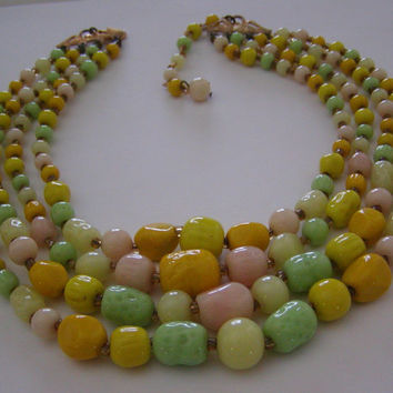 Vintage 50's Japan Four Strand Choker/Necklace Of Handmade Wrinkled Glass Beads in Spring Tones