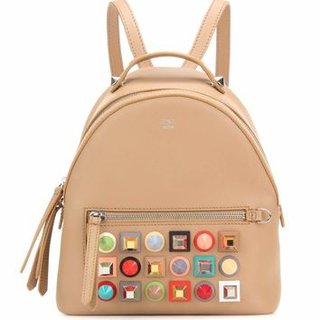 Mini embellished leather backpack