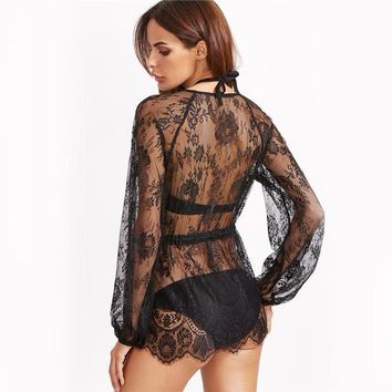 Hollow Lace Sexy Black Plunge Neck Drawstring Waist Cover-Up rompers
