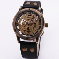 SHENHUA Delicate Classic Men's Mechanical Wrist Watch Leather Strap Retro Printed Dial Roman Number