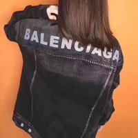 Balenciaga Women Simple Long Sleeve Denim Cardigan Small Coat