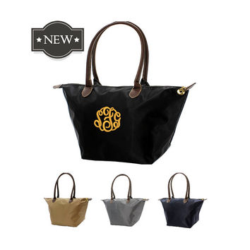 Deluxe Personalized Designer Inspired Solid Color Nylon and Leatherette Handbag With Free Monogramming