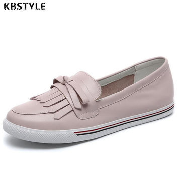 2017 Genuine Leather Women Shoes Women Flats Women Tassel Fringe Flats Loafers Moccasin White Nurse Shoes Female Shoes