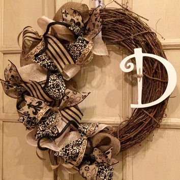 Burlap Grapevine Wreath, Summer Wreath, Spring Wreath, Monogram Wreath, Burlap Wreath, Grapevine Wreath, Mother's Day Gift, Wedding Gift