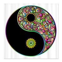 Yin Yang Symbol Psychedelic Colors Shower Curtain> Yin Yang Symbol Psychedelic Colors> BluedarkArt