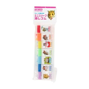 Chibi Ham Rainbow Color Eraser - Set of 7