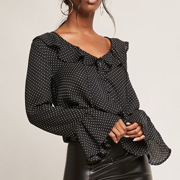 Ruffled Polka Dot Top