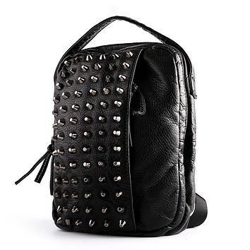 original rivet chest pack men and women fashion leisure washed leather soft chest bag