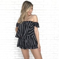 She Means Business Black Stripe Romper