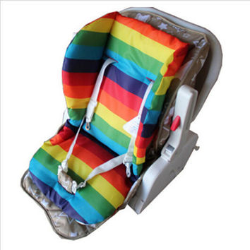 Thick Rainbow Baby Infant Stroller Car Seat Pushchair Cushion Cotton Cover Mat