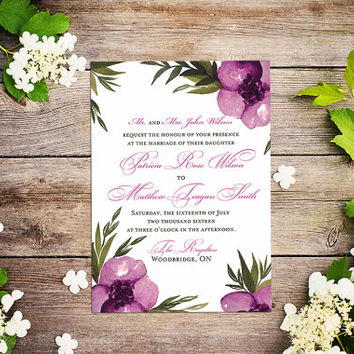"Floral Invitation Watercolor Wedding Invitation - Pink Mauve Wedding ""Everlasting"" Watercolor Invitation - Watercolor Flowers Invitation"