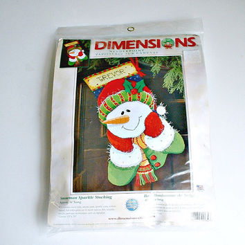 Dimensions Snowman Sparkle Kit Christmas Stocking Needlepoint Kit  #9134 FREE SHIPPING USA Only