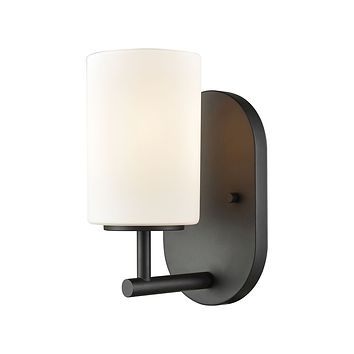 Pemlico 1-Light Vanity Lamp in Oil Rubbed Bronze with White Glass