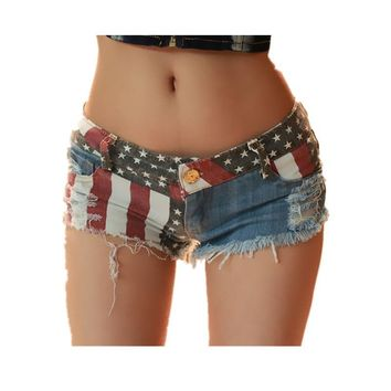 Shei 2017 Sexy Women Shorts Eurpean And  American US Flag Mini Shorts Jeans Hot Short Low Waist Femme Denim Shorts 20Oct6