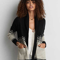 AEO Patterned Shawl Collar Cardigan , Black