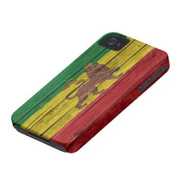 Rasta Flag Old Wood iPhone 4 Case from Zazzle.com