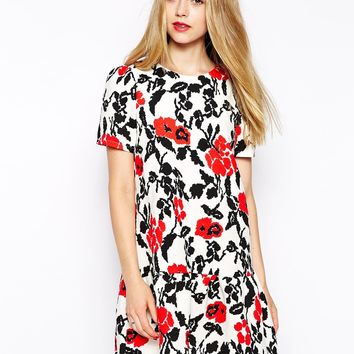 Girls on Film Floral Dress with Peplum Hem
