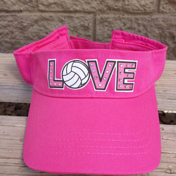 Love Volleyball bling sun visor- Makes a great Volleyball Coach Gift!