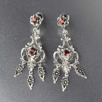 Vintage Edwardian Silver Garnet Earrings 1910s